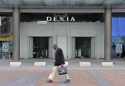 Pedestrians walk past Dexia Bank's headquarters building in Brussels, Belgium, Monday, Sept, 29, 2008. (Photo © Jock Fistick)