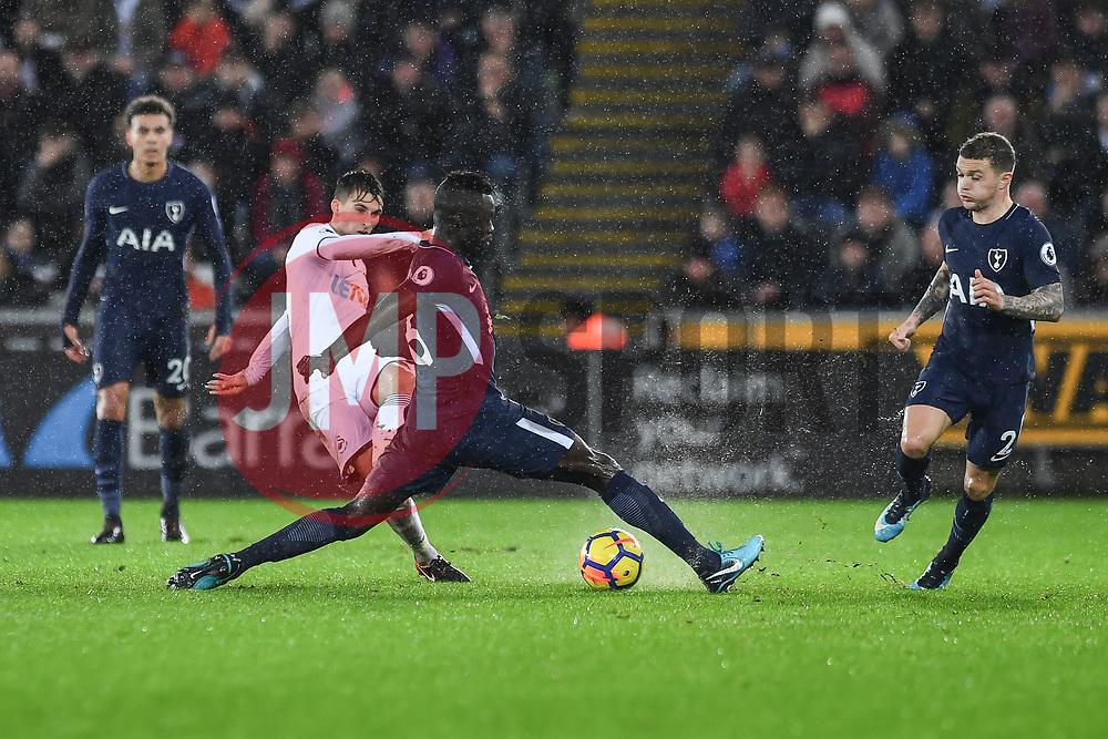 Tom Carroll of Swansea City\s pass is blocked by Davinson Sanchez of Tottenham Hotspur - Mandatory by-line: Craig Thomas/JMP - 02/01/2018 - FOOTBALL - Liberty Stadium - Swansea, England - Swansea City v Tottenham Hotspur - Premier League