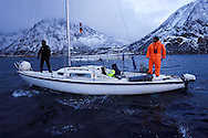 """Ecotourists/Whalewatching visitors, on board """"Orca Diving"""", operated by Marko van der Schulborg, Senja, Troms county, Norway, Scandinavia"""
