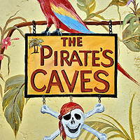 Pirate&rsquo;s Caves Sign in Bodden Town, Grand Cayman<br />