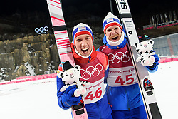 February 11, 2018 - Pyeongchang, SOUTH KOREA - 180211 Johann Andre Forfang and Robert Johansson of Norway celebrates after winning silver and bronze in the men's normal hill Individual ski jumping final during day one of the 2018 Winter Olympics on February 11, 2018 in Pyeongchang..Photo: Carl Sandin / BILDBYRÃ…N / kod CS / 57999_281 (Credit Image: © Carl Sandin/Bildbyran via ZUMA Press)