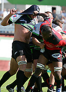 Olivier Missoup pulls the shirt of a Montauban player. Montauban defeated big-spending Toulon 21-18 in the Top 14 on Sunday to cap a memorable week for the south-western club. Stade Sapiac, Montauban, France, 6th September 2009.