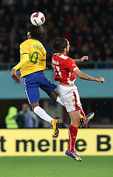 18.11.2014, Ernst Happel Stadion, Wien, AUT, Freundschaftsspiel, Oesterreich vs Brasilien, im Bild Luiz Adriano (BRA) und Martin Harnik (AUT) // during the friendly match between Austria and Brasil at the Ernst Happel Stadion, Vienna, Austria on 2014/11/18. EXPA Pictures © 2014, PhotoCredit: EXPA/ Alexander Forst
