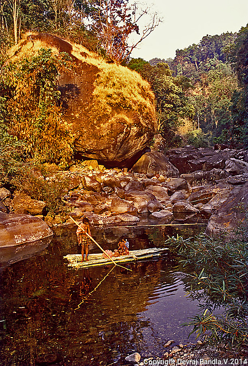 A family of the primitive Cholanaicken tribe,hunters and gatherers living in caves in deep tropical forests of Kerala,south India,cross pool of water in bamboo raft to reach cave.
