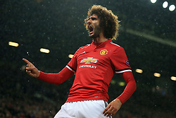 12th September 2017 - UEFA Champions League - Group A - Manchester United v FC Basel - Marouane Fellaini of Man Utd celebrates after scoring their 1st goal - Photo: Simon Stacpoole / Offside.