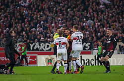 December 8, 2017 - Stuttgart, Germany - Leverkusens Kevin Volland is angry with Stuttgarts Santiago Ascacibar after a foul on his team mate Julian Brandt during the Bundesliga match between VfB Stuttgart and Bayer 04 Leverkusen at Mercedes-Benz Arena on December 8, 2017 in Stuttgart, Germany. (Credit Image: © Bartek Langer/NurPhoto via ZUMA Press)
