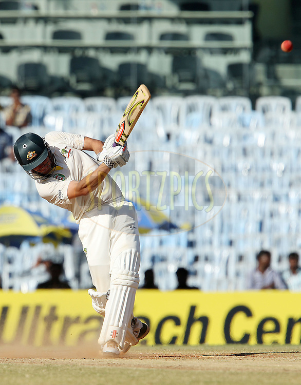 Moises Henriques of Australia hits over the top for six to make his fifty during day 4 of the 1st Airtel Test match between India and Australia at the M. A. Chidambaram Stadium in Chennai on the 25th February 2013..Photo by Ron Gaunt/BCCI//SPORTZPICS..Use of this image is subject to the terms and conditions as outlined by the BCCI. These terms can be found by following this link:..http://www.sportzpics.co.za/image/I0000SoRagM2cIEc