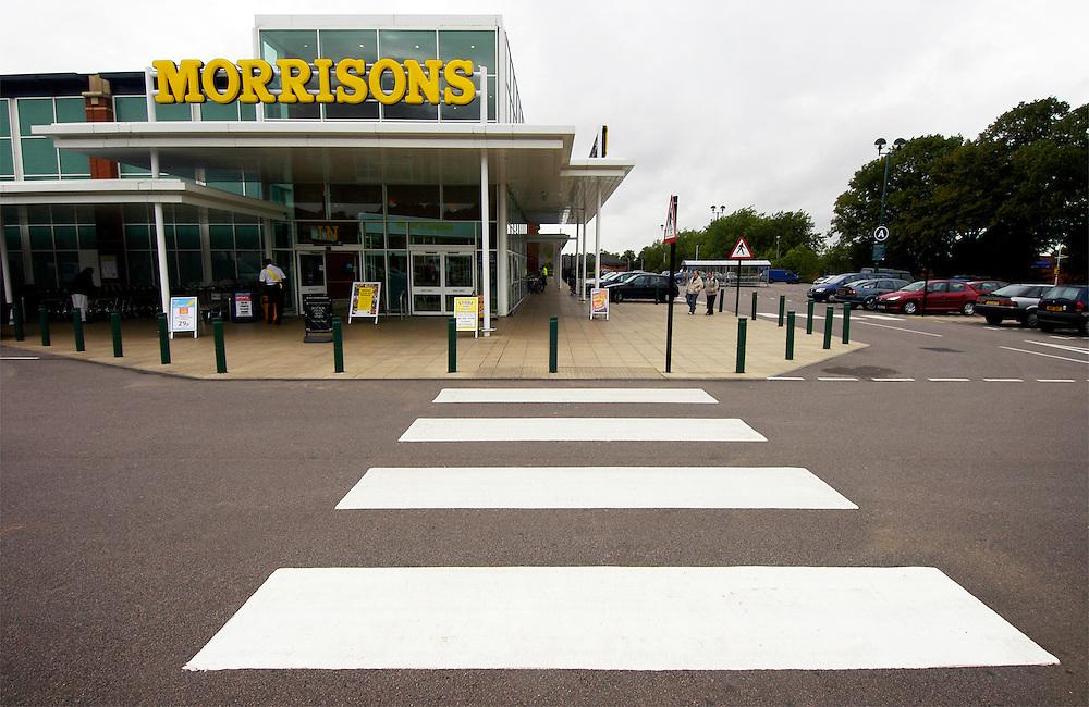 Pedestrian crossing in Morrisons supermarket car park, Freemans Park, Leicester, England, United Kingdom.