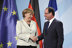 Bildnummer: 57992099 ..Chancellor Angela Merkel and Franois Grard Georges Nicolas Hollande during a press conference French Presidents in Federal Chancellery in Berlin Germany, Tuesday May 15, 2012.Sven Simon/imago/ i-Images