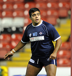 Bristol Rugby tighthead prop, Matias Diaz during pre-match warm up - Photo mandatory by-line: Paul Knight/JMP - Mobile: 07966 386802 - 05/12/2014 - SPORT - Rugby - Bristol - Ashton Gate - Bristol Rugby v London Scottish - B&I Cup