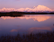 Sunset, Lake, Pond, reflection, Mt. McKinley, Mount McKinley, Denali, Denali National Park, National Park, Alaska, Alaska Range