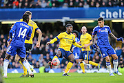 Scunthorpe's Hakeeb Adelakun on the ball during the The FA Cup third round match between Chelsea and Scunthorpe United at Stamford Bridge, London, England on 10 January 2016. Photo by Shane Healey.