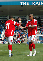Photo: Tony Oudot.<br /> Gillingham v Charlton Athletic. Pre Season Friendly. 28/07/2007.<br /> Jerome Thomas of Charlton is congratulated by Chris Iwelumo on his penalty