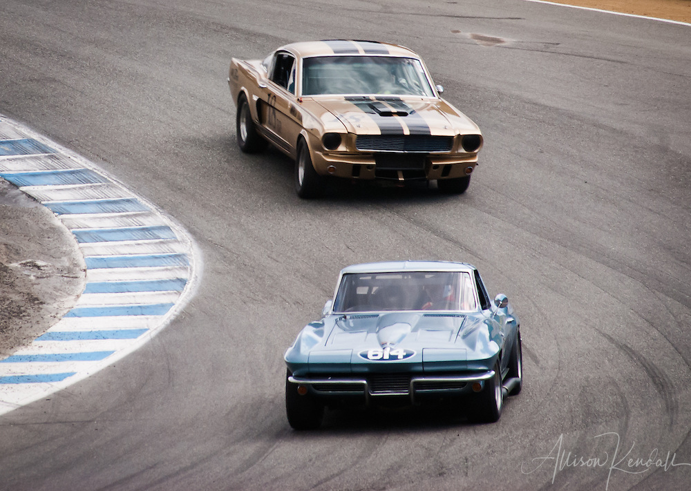 1963 Chevrolet Corvette driven by Vic Edelbrock, leading a 1966 Shelby GT 350 through the corkscrew at Laguna Seca, during the 2013 Rolex Monterey Motorsports Reunion
