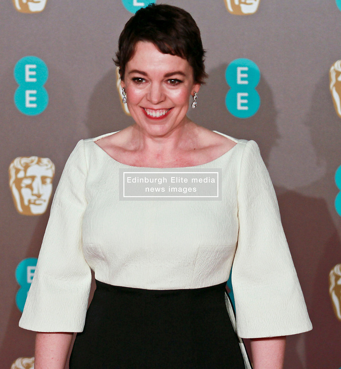 Olivia Colman on the red carpet ahead of the 2019 British Academy Film Awards at the Royal Albert Hall in London, England on 10th Feburary 2019. ©Ben Booth/Edinburgh Elite media