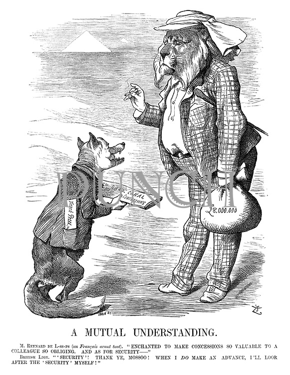 """A Mutual Understanding. M Reynard De L-ss-ps (un Francais avant tout). """"Enchanted to make concessions so valuable to a colleague so obliging. And as for security—"""" British Lion. """"'Security'! Thank ye, Mossoo! When I do make an advance, I'll look after the 'security' myself!"""""""