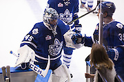 Jonathan Bernier leaves the ice after the first period during a game against the Rochester Americans in Rochester, New York, USA on Friday, December 4, 2015.