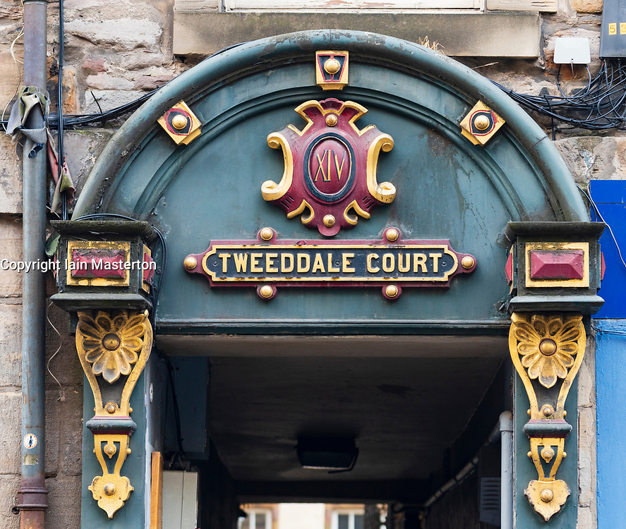 Detail of ornate decoration at entrance to Tweeddale Court close (passageway) on the Royal Mile in Old Town of Edinburgh, Scotland, UK