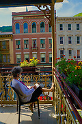 Artist draws sketch in her sketchbook, Inn of Jim Thorpe, Jim Thorpe, Carbon County, PA