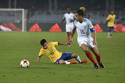 October 25, 2017 - Kolkata, West Bengal, India - England Joel Latibeudiere (jersey 15) in action during the FIFA U 17 World Cup India 2017 Semi Final match in Kolkata. Players of England and Brazil in action during the FIFA U 17 World Cup India 2017 Semi Final match on October 25, 2017 in Kolkata. (Credit Image: © Saikat Paul/Pacific Press via ZUMA Wire)