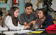 Eighth graders work on science projects at Wharton K-8 Dual Language, April 16, 2015.