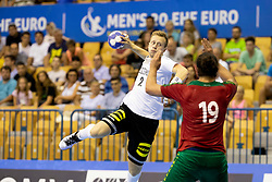 Luca Witzke of Germany and Luis Frade of Portugal during handball match between National teams of Germany and Portugal in game for Third place of 2018 EHF U20 Men's European Championship, on July 29, 2018 in Arena Zlatorog, Celje, Slovenia. Photo by Urban Urbanc / Sportida