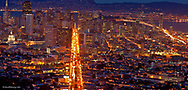 Panoramic view of the San Francisco Skyline and the Bay Bridge from Twin Peaks in San Francisco, California, USA