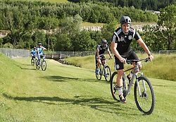 01.07.2016, Athletic Area, Schladming, AUT, U19 EURO, Vorbereitung Deutschland, DFB U19 Junioren, im Bild Fitnesscoach Christian Schwend unterwegs mit einem Mountainbike // during a training camp of Team Germany for preparation for the UEFA European Under-19 Championship at the Athletic Area, Austria on 2016/07/01. EXPA Pictures © 2016, PhotoCredit: EXPA/ Martin Huber