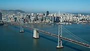 Aerial view of the San Francisco and Oakland California