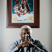 (oscar reed carrizo 05/12/09) Oscar Robertson one of the greatest players in the game of basketball, yet unknown to many young fans,  poses for a photo in his business conference room on Tuesday, May 12, 2009 in Fairfield, Ohio. Many young basketball fans (Columbus Dispatch Photo by Leonardo Carrizo)