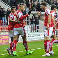 Jonson Clarke-Harris (C) of Rotherham United celebrates scoring to make it 2-0 during the Sky Bet Championship match at the New York Stadium, Rotherham<br /> Picture by Richard Land/Focus Images Ltd +44 7713 507003<br /> 28/11/2015