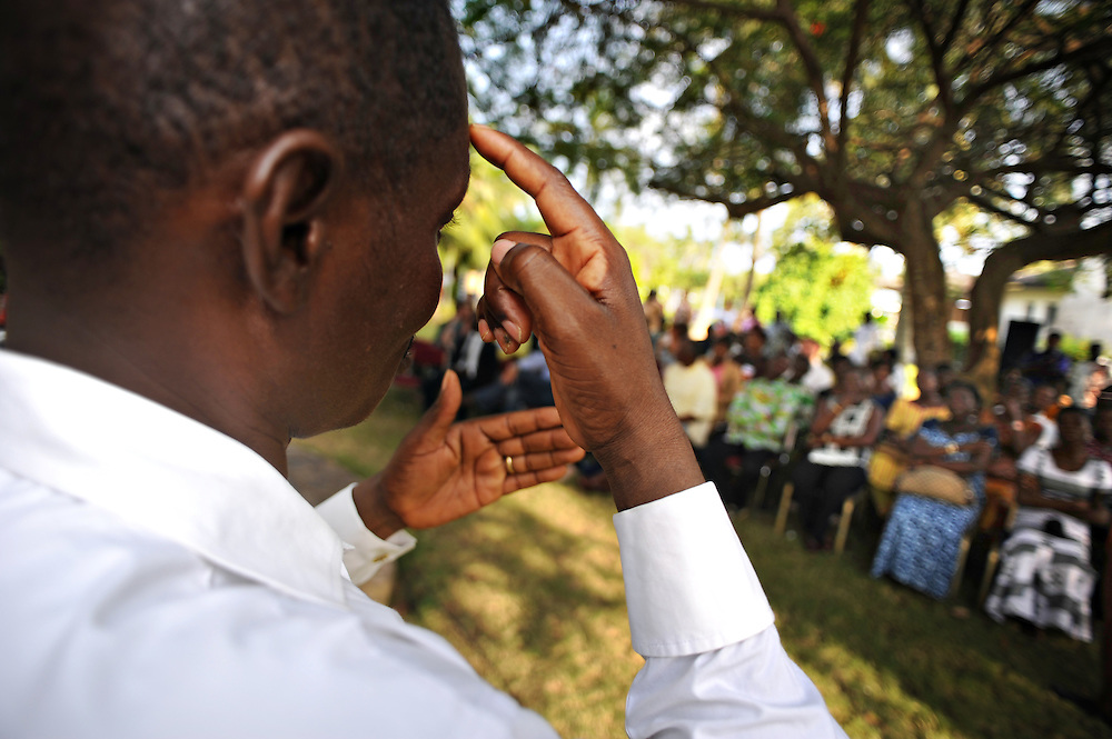 11-11-20  -- LOME, TOGO  --   Simultaneous sign language interpretation of an event organized by CBM and Togolese partners around the 22nd session of the ACP-EU (African, Caribbean and Pacific - European Union) Joint Parliamentary Assembly (JPA) in Togo, West Africa, November 20.  Photo by Daniel Hayduk