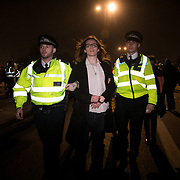 Arrests in progress on Waterloo Bridge. For up to ten days Extinction Rebellion activists occupied Waterloo Bridge, Parliament Square, Oxford Circus and Marble Arch disrupting traffic and 'normal life'. More than a thousand people were arrested before the police finally cleared the street and the International Rebellion was called to halt by the activists.  The environmental protest group Extinction Rebellion has called for civil disobedience and peaceful protest to force the British government to take drastic action on climate change. The group wants the government to tell the truth and admit that the impact of climate change is much more severe than they say and that action to mitigate catastrophic climate change is urgent.