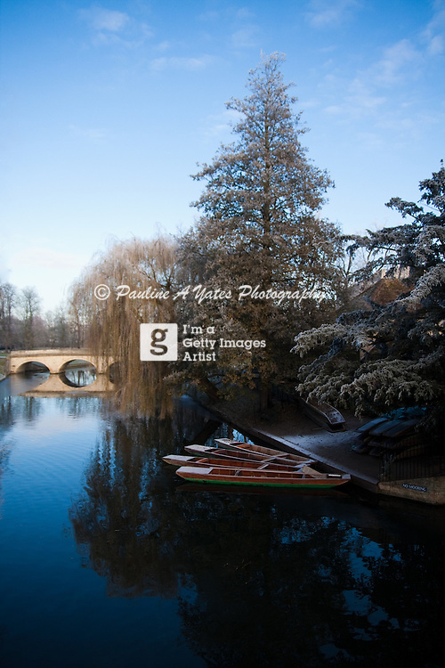 The river Cam in Cambridge on a frosty morningCambridge punts in winter