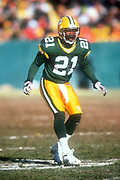 Green Bay Packers safety Bhawoh Jue  (21) during an NFL football game against the Minnesota Vikings, Sunday, Dec. 30, 2001, in Green Bay, Wisc. The Packers defeated the Vikings 24-13.