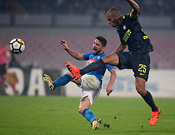 NAPLES, Oct. 22, 2017  Napoli's Dries Mertens (L) vies with Inter Milan's Miranda during the Serie A soccer match between Inter Milan and Napoli in Naples, Italy, Oct. 21, 2017. The match ended with a 0-0 tie. (Credit Image: © Alberto Lingria/Xinhua via ZUMA Wire)