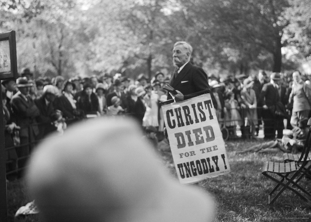 Orator in Hyde Park, Religion, London, 1929