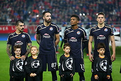 04.11.2015, Karaiskakis Stadium, Piraeus, GRE, UEFA CL, Olympiacos vs Dinamo Zagreb, Gruppe F, im Bild Machado, Taravel, Fernandez, Marko Pjaca // during UEFA Champions League group F match between Olympiacos and Dinamo Zagreb at the Karaiskakis Stadium in Piraeus, Greece on 2015/11/04. EXPA Pictures © 2015, PhotoCredit: EXPA/ Pixsell/ Slavko Midzor<br /> <br /> *****ATTENTION - for AUT, SLO, SUI, SWE, ITA, FRA only*****