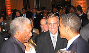 **EXCLUSIVE**.Morgan Freeman & Presidential Candidate Barack Obama.Presidential Candidate Barack Obama Fundraiser, hosted by DreamWorks Movie moguls Steven Spielberg, David Geffen and Jeffrey Katzenberg.Beverly Hilton Hotel.Hollywood, California, USA.Tuesday, February 20, 2007.Photo by Celebrityvibe.com; .To license this image please call (212) 410 5354 ; or.Email: celebrityvibe@gmail.com ;