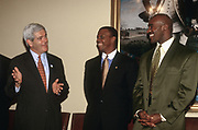 WASHINGTON, DC, USA - 1997/07/24: Speaker Newt Gingrich, left, chats with Rep. J.C. Watts, center, and World heavyweight champion boxer Evander Holyfield during and event on the values of fatherhood on Capitol Hill July 24, 1997 in Washington, DC.    (Photo by Richard Ellis)