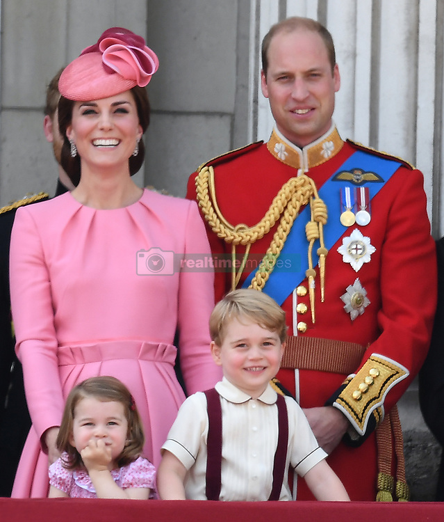 Members of The Royal Family attend Trooping the Colour at Buckingham Palace, London, UK, on the 17th June 2017. 17 Jun 2017 Pictured: Catherine, Duchess of Cambridge, Kate Middleton, Princess Charlotte, Prince George, Prince William, Duke of Cambridge. Photo credit: James Whatling / MEGA TheMegaAgency.com +1 888 505 6342