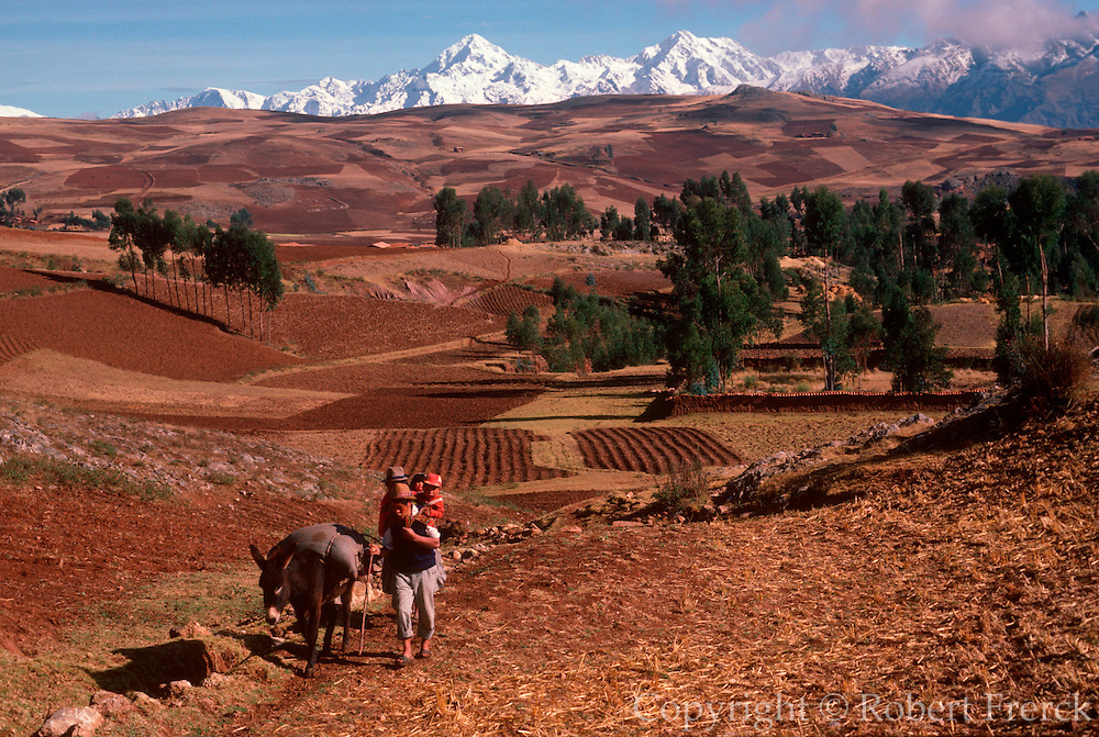 PERU, HIGHLAND, ANDES MOUNTAINS the Cordillera de Urubamba Mountains above the fields at Maras near Cuzco