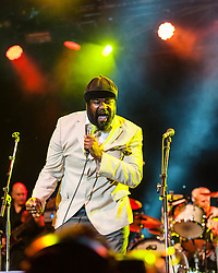 © Licensed to London News Pictures. 22/07/2012. London, UK.  Jools Holland and his Rhythm & Blues Orchestra performs live for BT's River of Music at the Europe stage, Somerset House.  In this pic - Gregory Porter.   Gregory Porter is a jazz vocalist, songwriter, and actor. His debut album, Water, released in 2010 via Motéma Music, was nominated for Best Jazz Vocal album at the 53rd Annual Grammy Awards.  Photo credit : Richard Isaac/LNP