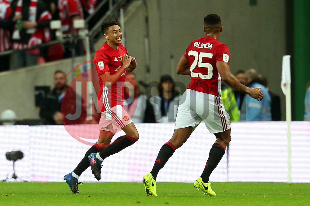 Jesse Lingard of Manchester United celebrates after scoring his sides second goal  - Mandatory by-line: Matt McNulty/JMP - 26/02/2017 - FOOTBALL - Wembley Stadium - London, England - Manchester United v Southampton - EFL Cup Final