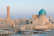 View over city Bukhara with mosques and minarets, Uzbekistan