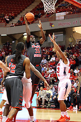 08 November 2015: Roland Griffin(35) is surrounded but finds a clean route to the hoop. Illinois State Redbirds host the Southern Indiana Screaming Eagles and beat them 88-81 in an exhibition game at Redbird Arena in Normal Illinois (Photo by Alan Look)