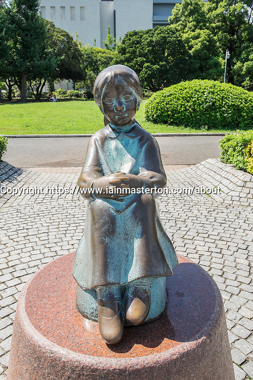 The Statue Little Girl in Red Shoes in Yamashita Park Yokohama Japan