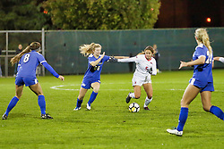 NORMAL, IL - October 17:  Camry DeGrafft & Mikayla Unger during an NCAA Missouri Valley Conference (MVC)  women's soccer match between the Indiana State Sycamores and the Illinois State Redbirds October 17 2018 on Adelaide Street Field in Normal IL (Photo by Alan Look)