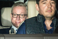© Licensed to London News Pictures. 09/06/2019. London, UK. Secretary of State for Environment, Food and Rural Affairs and Conservative Party leadership contender Michael Gove (L) is driven out of BBC Broadcasting House after appearing on The Andrew Marr Show. Photo credit: Rob Pinney/LNP