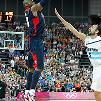 10 August 2012: USA Kobe Bryant takes a jumpshot over Argentina Manu Ginobili during 109-80 Team USA victory over Team Argentina, during the men's basketball semi-finals, at the North Greenwich Arena, in London, Great Britain.